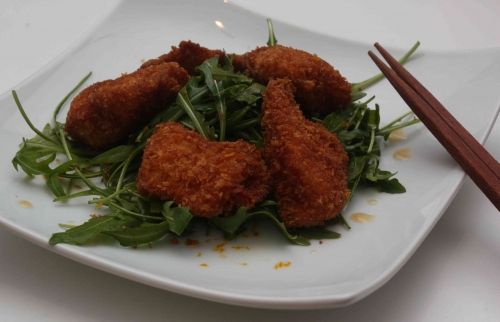 Nuggets de poulet au panko et salade de roquette sauce ponzu