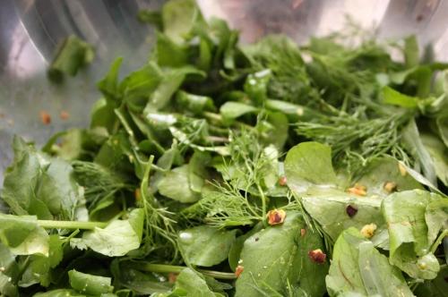 Salade de cresson, herbes et pistaches à l'eau de fleur d'oranger