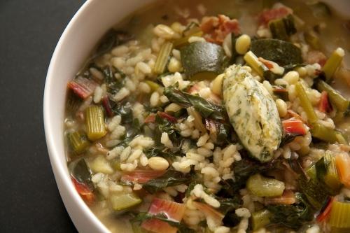 Minestrone verde al riso