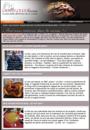 Notre interview sur le site Larousse Cuisine