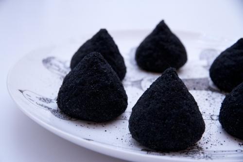suppli noirs,croquettes de riz,suppli truffe-taleggio