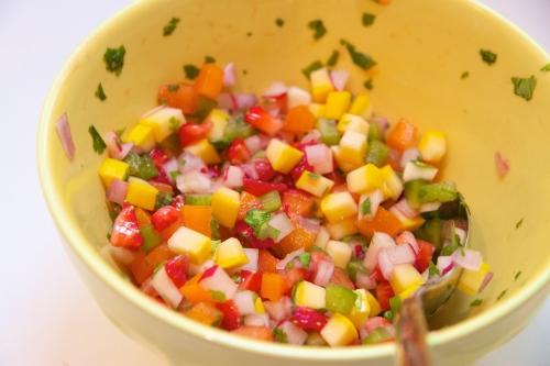 tartare de magret,magret de canard,magret cru,vinaigrette légumes fruits