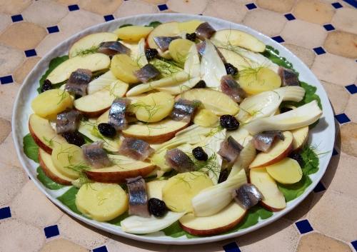 recette bio,maatjes,fenouil, verjus, salade