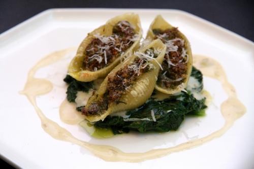 Conchiglioni aux escargots et pesto de sauge