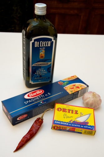 spaghetti aglio e olio,pâtes simples,recette du placard