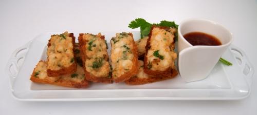 Toasts de langoustines frits