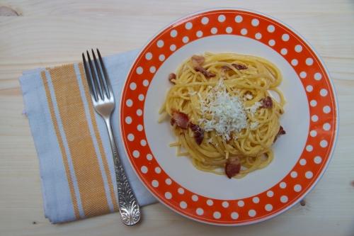 Spaghettis carbonara d'ici