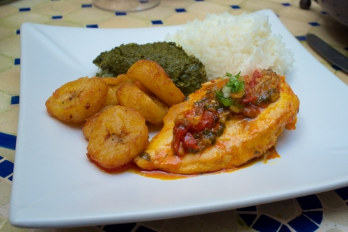 poulet à l'huile de palme,huile de palme sauvage,recette africaine,bananes plantains frites