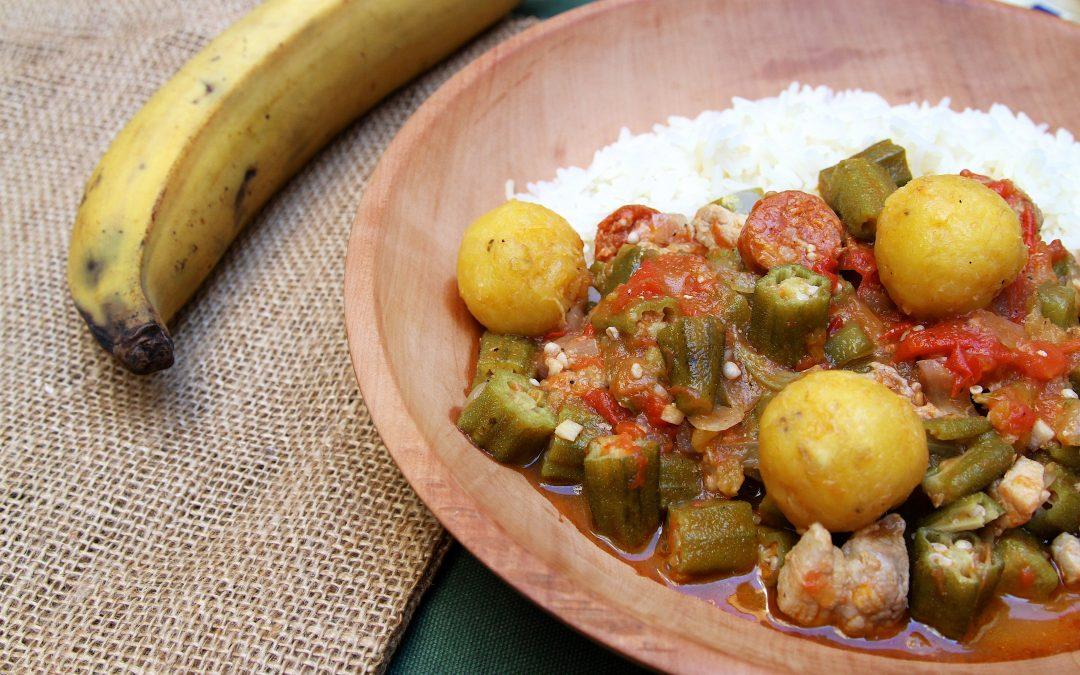 Quimbombo, ragoût de gombos aux quenelles de banane plantain comme à Cuba